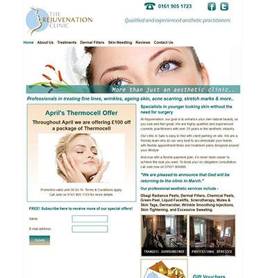 beauty salon website for the rejuvenation clinic
