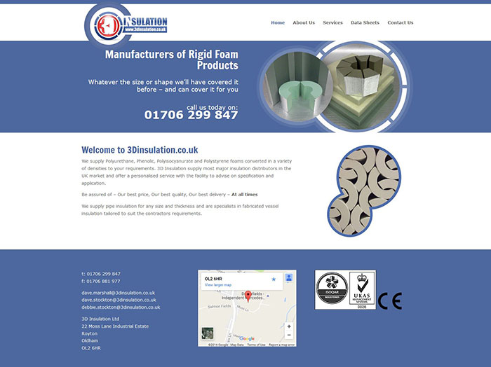 Mobile Friendly Web Design for Oldham's 3D Insulation