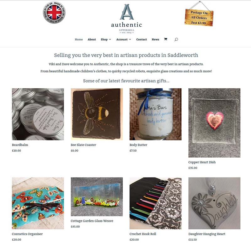 Online Shop Website for Authentic in Uppermill, Saddleworth, Oldham