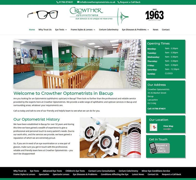 New Website Design For Bacup Opticians – Crowther Optometrists
