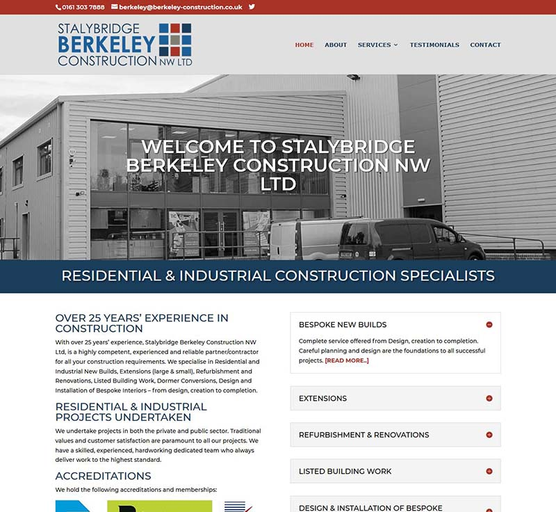 New Logo Design + Website Design for a Stalybridge Construction Company