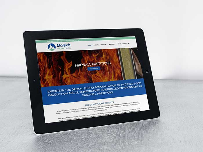 Food & Drink Sector Website - McVeigh Projects in Hyde, Cheshire