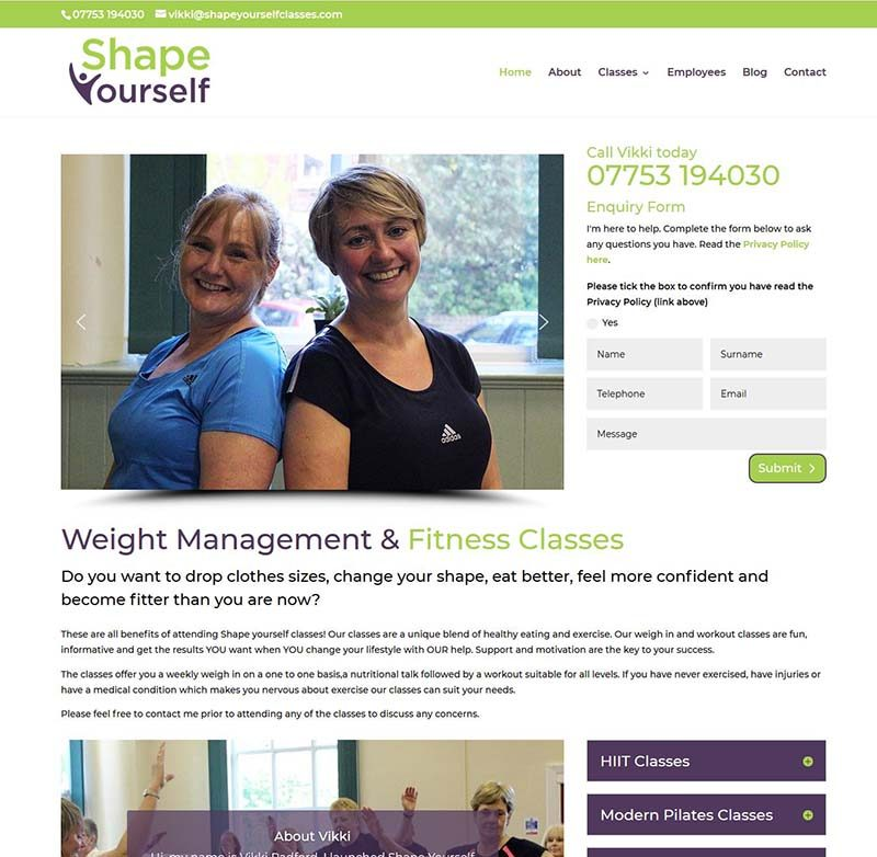 Website Design For Fitness Classes