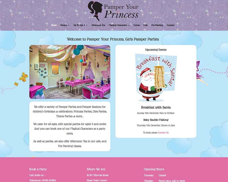 'Sparkly' New Web Design For An Oldham Party Business