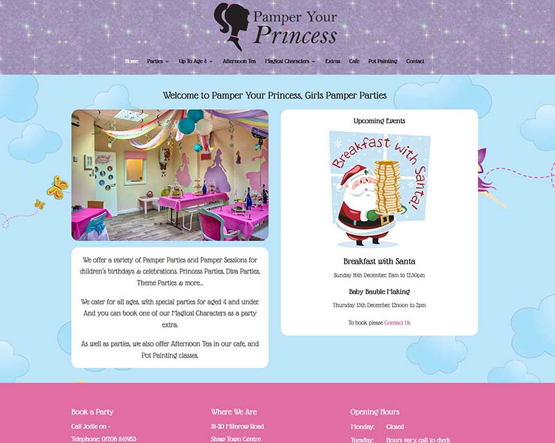 Web Design For An Oldham Party Business