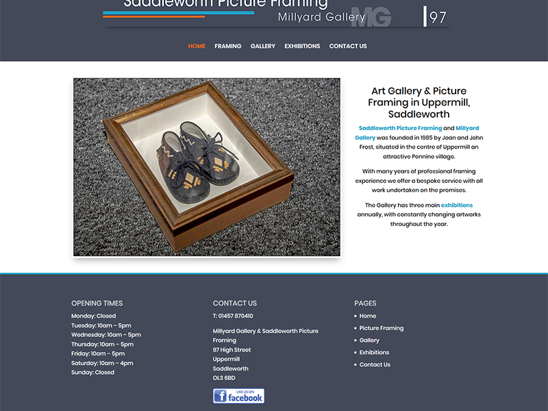 New Website Design For Uppermill's Millyard Gallery